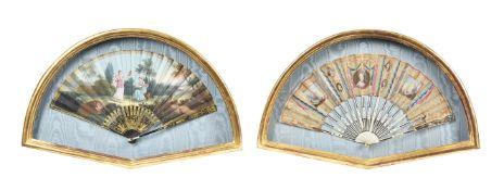Y Two giltwood framed fans