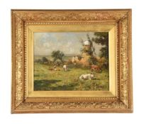 Attributed to Mark William Fisher (American/British 1841-1923), Cattle in a meadow before a windmill