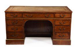 A walnut pedestal desk