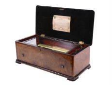 Y A Swiss walnut and tulipwood banded musical box