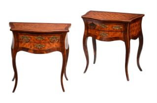 A pair of French walnut and parquetry side tables