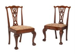 A pair of mahogany side chairs in George III style