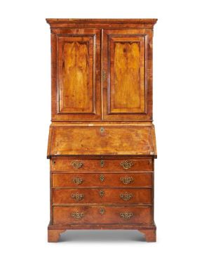 A WALNUT BUREAU BOOKCASE, 18TH CENTURY AND LATER ADAPTED