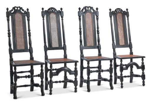 A SET OF FOUR EBONISED SIDE CHAIRS, LATE 17TH CENTURY