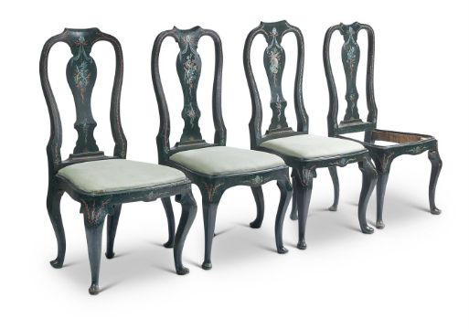 A SET OF SIX GREEN AND POLYCHROME PAINTED DINING CHAIRS, MID 18TH CENTURY