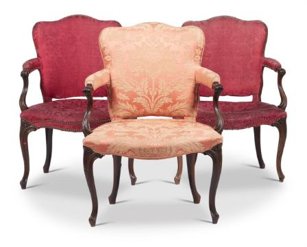 A SET OF THREE GEORGE III MAHOGANY AND UPHOLSTERED ARMCHAIRS, CIRCA 1800