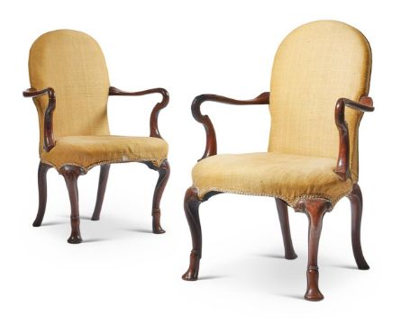 A PAIR OF GEORGE I WALNUT AND YELLOW SILK UPHOLSTERED ARMCHAIRS, CIRCA 1720