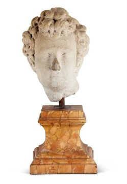 A FLORENTINE CARVED STONE CLASSICAL HEAD