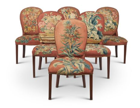 A SET OF SIX GEORGE III MAHOGANY AND UPHOLSTERED SIDE CHAIRS, CIRCA 1780