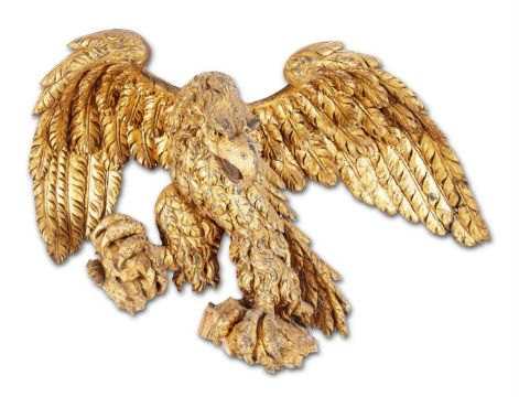 A GILT CARVED WOOD MODEL OF AN EAGLE, 19TH CENTURY