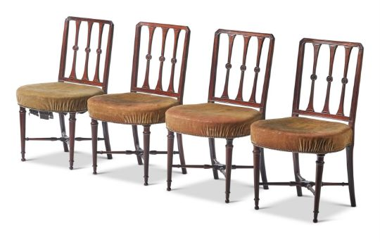 A SET OF EIGHT GEORGE III MAHOGANY DINING CHAIRS, CIRCA 1810