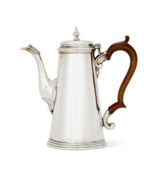 A GEORGE II SILVER STRAIGHT SIDED COFFEE POT BY ELIZABETH BUTEUX