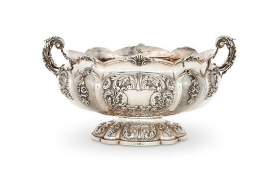 AN ITALIAN SILVER SHAPED OVAL WINE OR CHAMPAGNE COOLER BY CARLO VALLÉ SNC