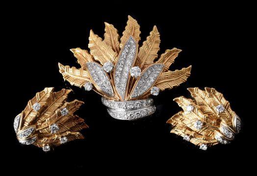 GÜBELIN, A DIAMOND FOLIATE BROOCH