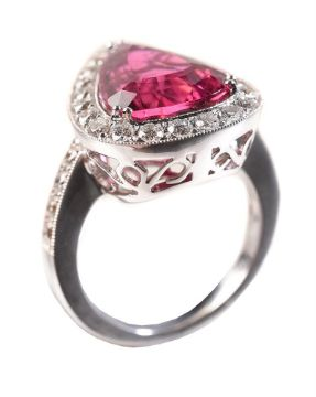 AEL, A RUBELLITE AND DIAMOND CLUSTER RING