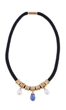 GRATIA SCOTT-OLDFIELD, A SAPPHIRE AND FRESHWATER PEARL CHARM NECKLACE