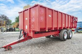 Triffid 14T twin axle (commercial type) grain trailer with hydraulic tail board.