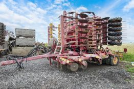 """Vaderstaad 6m """"F"""" drill with new coulter discs and following tines on cleated tyres."""