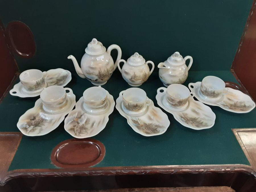 Japanese eggshell china tea service with pictorial lake and Mount Fuji decoration, tea cups with - Image 4 of 4