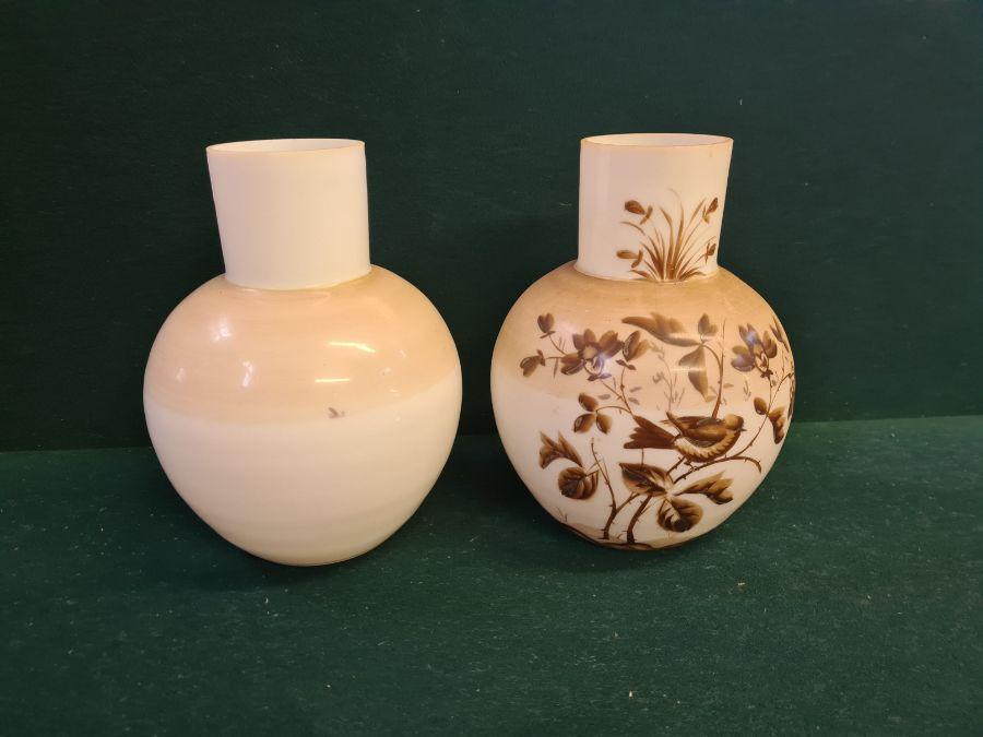 Pair of Victorian opaline glass vases decorated with birds on branches. - Image 2 of 2