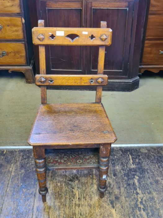 Victorian oak arts and craft metamorphic library steps. - Image 4 of 4