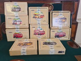 9 x Corgi Commercial Classic buses and bus sets, all mint, some box damage.