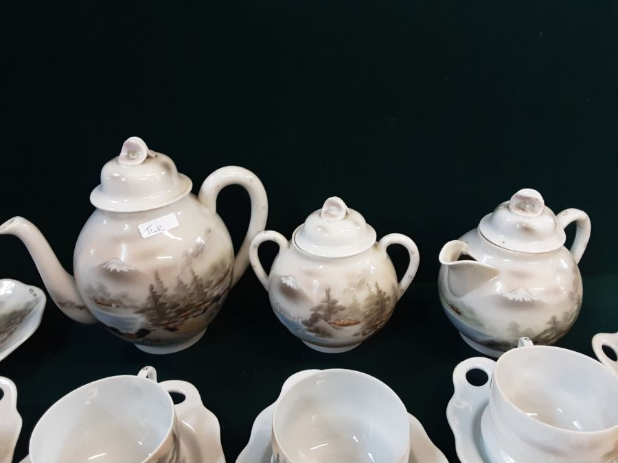 Japanese eggshell china tea service with pictorial lake and Mount Fuji decoration, tea cups with - Image 2 of 4