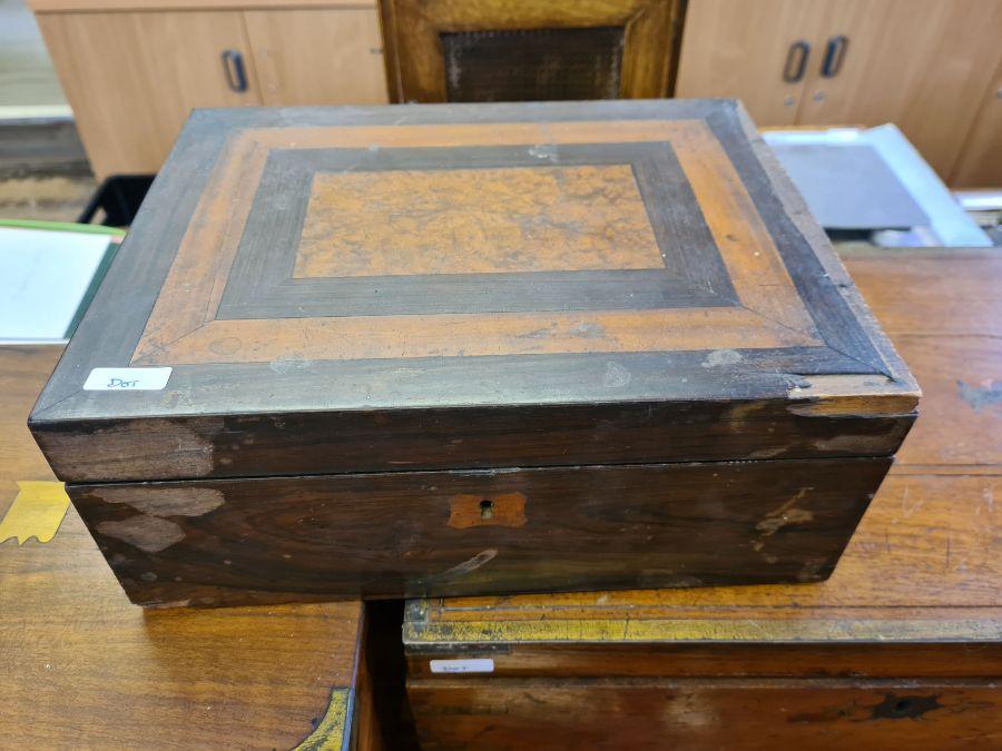 2 Victorian mahogany boxes for restoration and a small mahogany writing slope. - Image 2 of 6