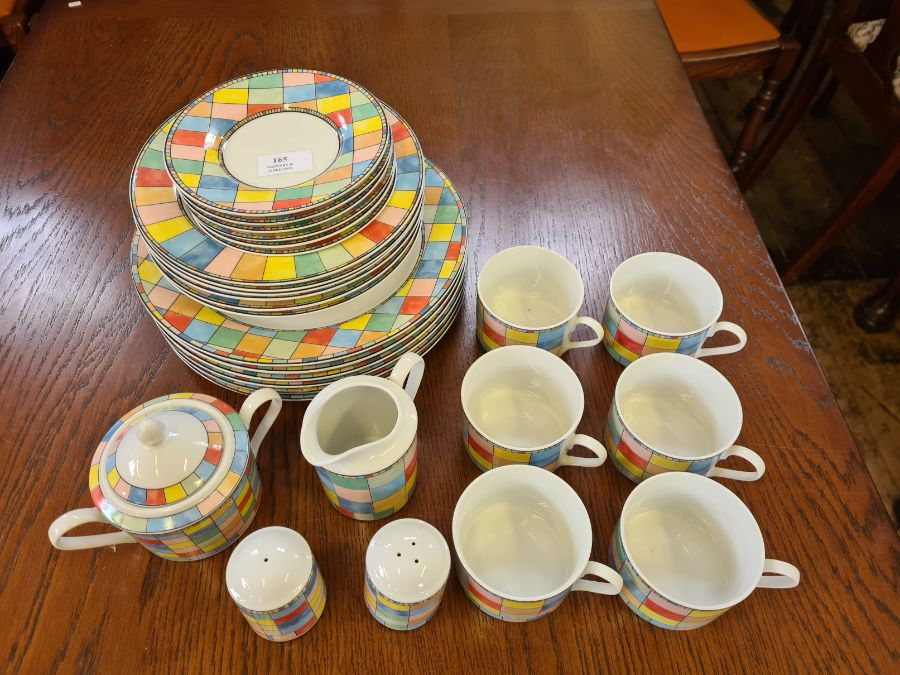 Modern Table Top Co. Mardi Gras pattern coloured 28 piece tea and dinner service and a small - Image 2 of 3