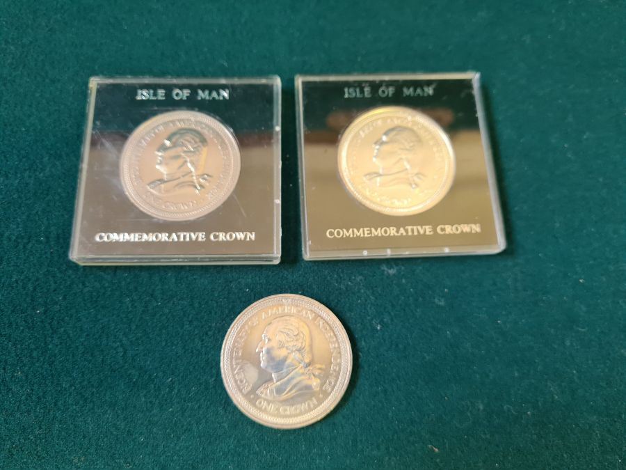 3 x sterling silver 1976 Bi-Centenary American Independence Crowns.