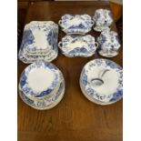 Victorian aesthetic pattern flow blue Dalehall Pottery & Co dinner service to include 2 shaped