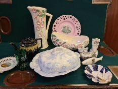 Mixed lot comprising Victorian flow blue lidded dish, continental novelty ashtray, crested wares,