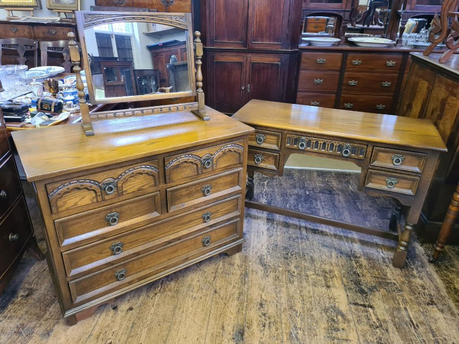 Old Charm bedroom chest and matching kneehole dresser/desk together with matching table mirror