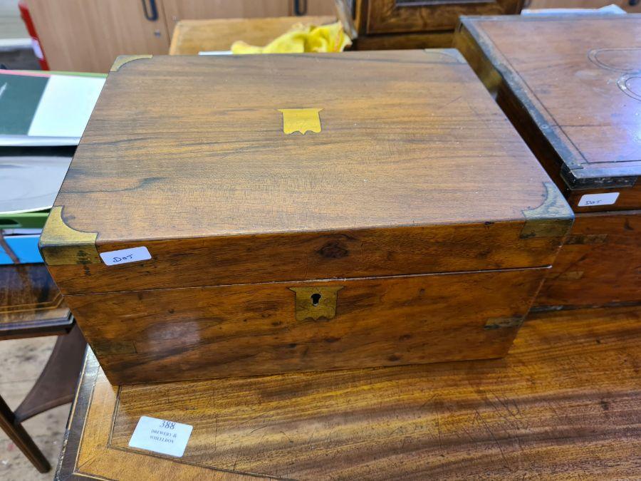 2 Victorian mahogany boxes for restoration and a small mahogany writing slope. - Image 3 of 6
