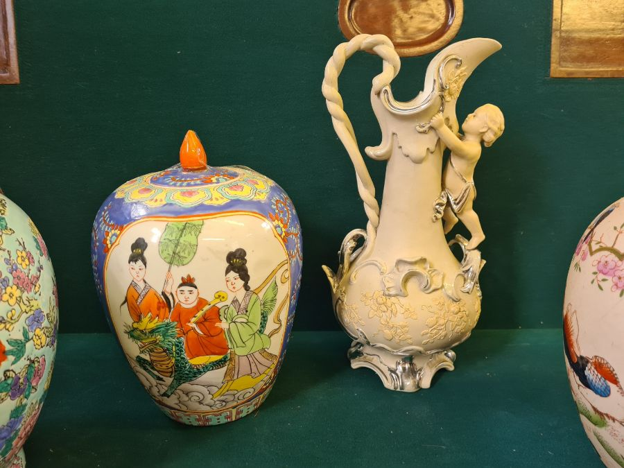 2 x modern oriental style vases, a large glazed ginger jar and a continental silvered pottery jug. - Image 3 of 4