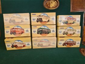 9 x Corgi Commercial Classics, all mint in boxes, some unopened. AEC Regal Eastern Counties, Leyland