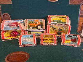 9 x Britains farm toys boxed in varying condition as pictured, 9556 hay baler, 9577 seed drill, 9528