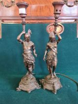 A pair of bronze figures modelled as native American Indians (later electric lamp conversions)