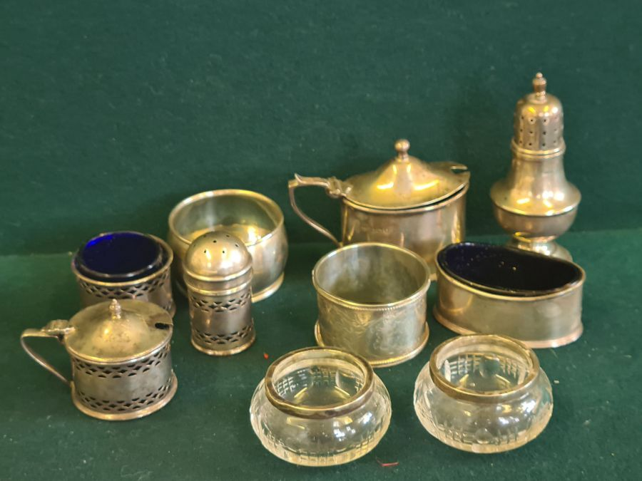 Various silver condiments, napkin rings, etc., makers to include Walker & Hall 140g silver content. - Image 7 of 7