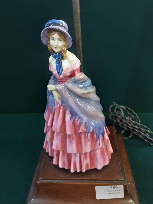1950's crinoline lady table lamp on mahogany base with bakelite switch. - Image 2 of 3