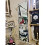1950's oblong bevel edged wall hanging mirror, 96cm x 28cm.