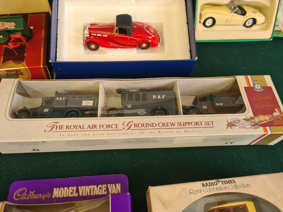 Mixed die cast toys, Lledo Royal Air Force ground crew support set, Corgi Jaguar 1953 RAC rally set, - Image 3 of 4
