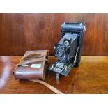 Leather cased Eastment Kodak No. 1A autographic folding camera.