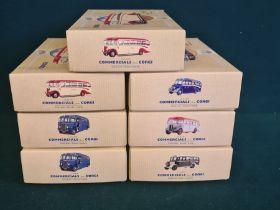 7 x Corgi Classic Commercials, 2 x TNE Ribble Leyland Tiger, 2 x The Hardings AEC Regal coach,