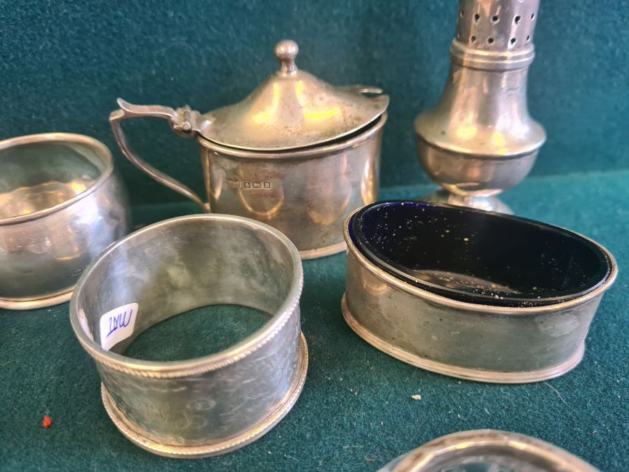 Various silver condiments, napkin rings, etc., makers to include Walker & Hall 140g silver content. - Image 2 of 7
