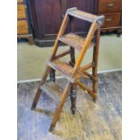 Victorian oak arts and craft metamorphic library steps.