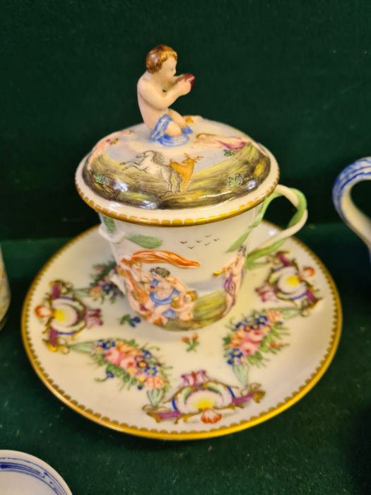Tray lot to include copper lustre cup and beakers, Copeland 2 handled mug, enamelled Victoria - Image 4 of 6