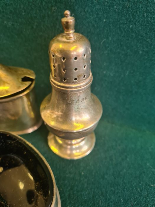 Various silver condiments, napkin rings, etc., makers to include Walker & Hall 140g silver content. - Image 3 of 7