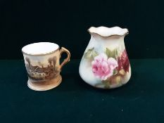 """Small Worcester tankard Ann Hathaways cottage standing 2.25"""" and a Royal Worcester floral"""