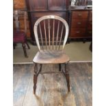 An elm and ash kitchen Windsor chair.